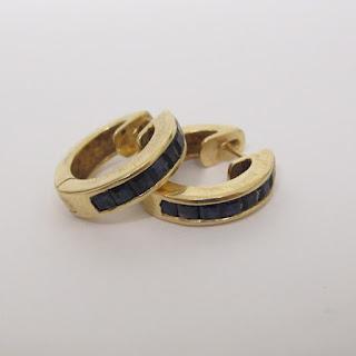 10K Gold & Blue Stone Earrings