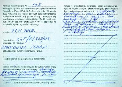 Uprawnienia elektryczne, świadectwo kwalifikacyjne SEP str 2