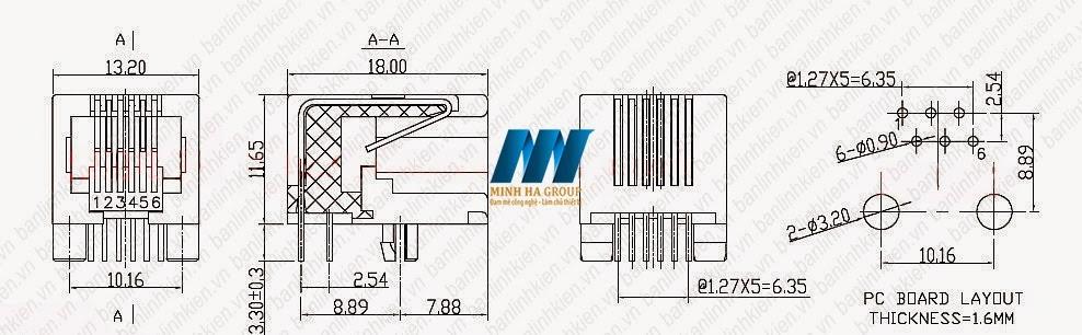 RJ11 6P6C 13x18x11MM