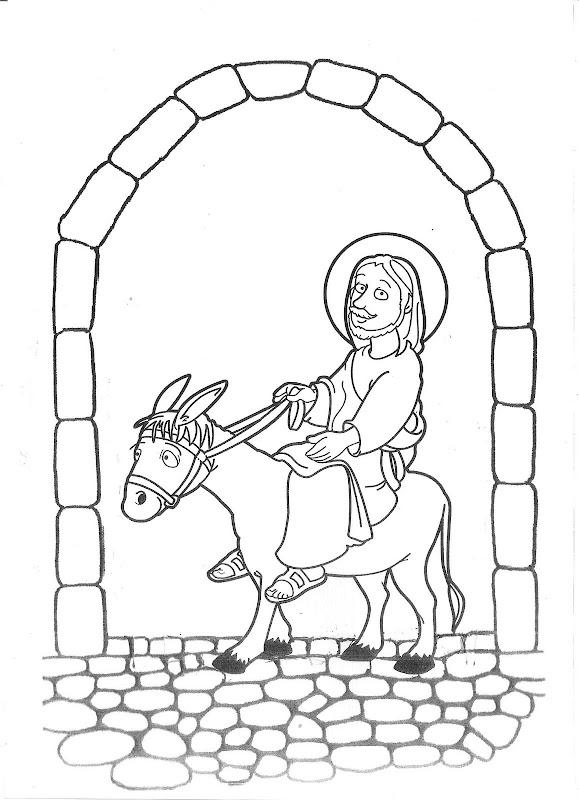 Jesús en burro entrando a Jerusalén para colorear