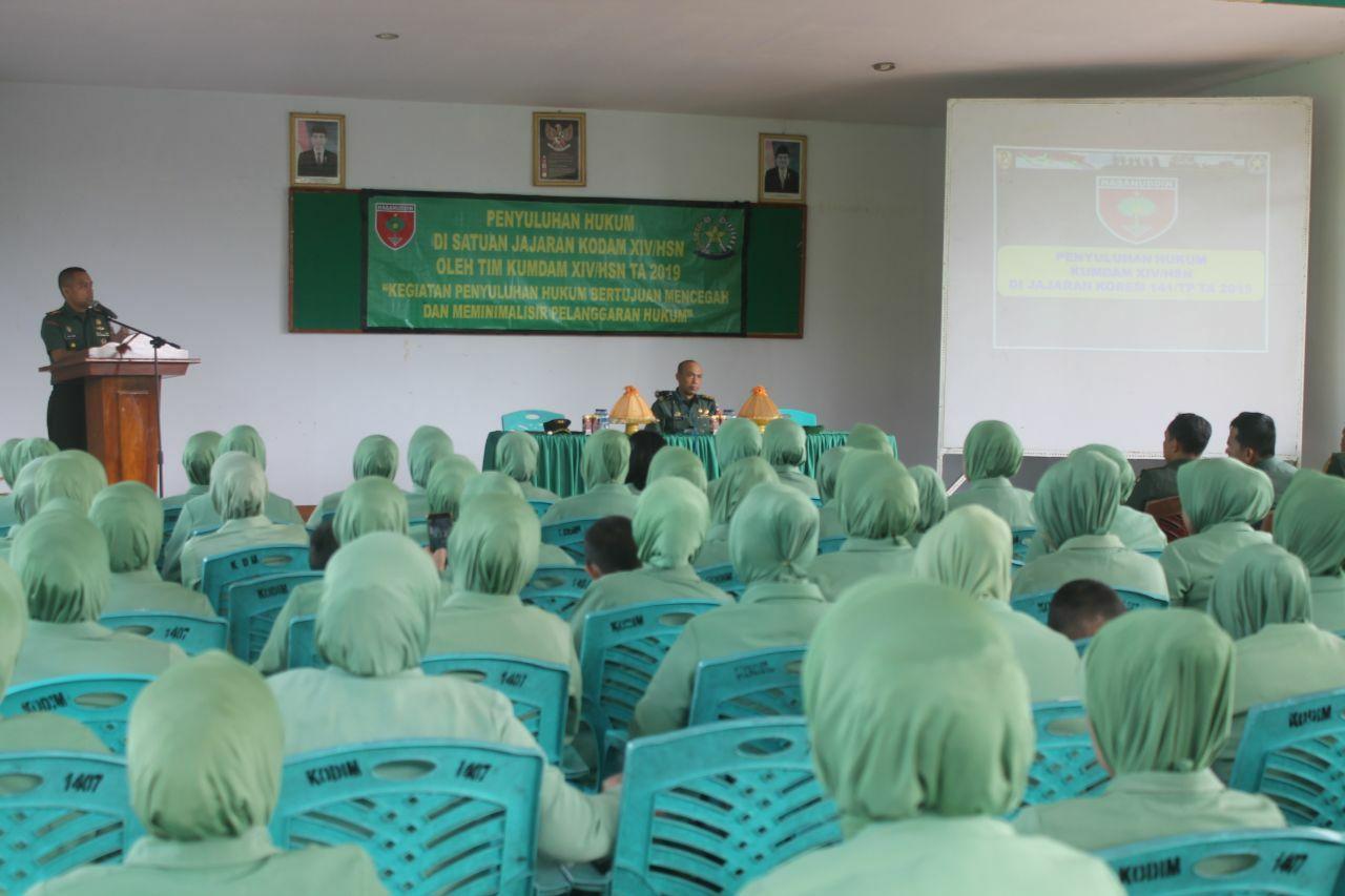 Personel Kodim 1407/Bone Dapatkan Penyuluhan Hukum dari Kum Kodam XIV Hasanuddin