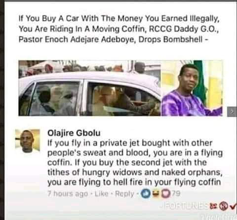 I just want to clarify something here. Is it true that Pastor E. A. Adeboye has 2 private jets