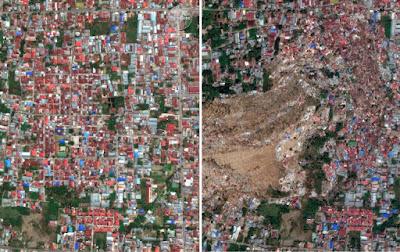 dpatopbilder - HANDOUT - 02.10.2018, Indonesien, Palu: KOMBO - Die Bildkombo aus von DigitalGlobe zur Verfügung gestellten Satellitenaufnahmen zeigt das Stadtviertel Balora einmal vor einem Erdbeben und Tsunami (links) und einmal danach, durch die Auswirkungen zerstört. Nach der Tsunami-Katastrophe mit Hunderten Toten in Indonesien haben zahlreiche Länder ihre Hilfe zugesagt. Nach der jüngsten offiziellen Zwischenbilanz von Montag den 02.10.2018 kamen auf Indonesiens viertgrößter Insel Sulawesi mindestens 844 Menschen ums Leben. Foto: Uncredited/DigitalGlobe, a Maxar company/AP/dpa - ACHTUNG: Nur zur redaktionellen Verwendung im Zusammenhang mit der aktuellen Berichterstattung bis zum 16.10.2018, keine Archivierung, keine Weitergabe an 3. und nur mit vollständiger Nennung des vorstehenden Credits +++ dpa-Bildfunk +++