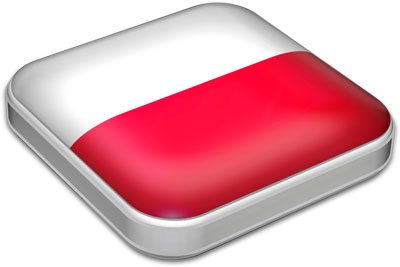 Flag of Poland with metallic square frame