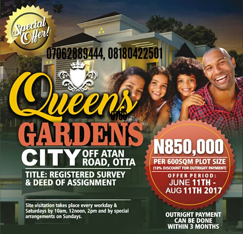 QUEENS GARDEN CITY, ATAN, OTA, LAGOS(LAND FOR SALE)
