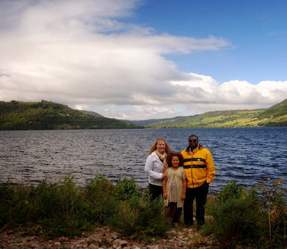 Our family in Scotland, on Loch Ness (across from Urquhart Castle)