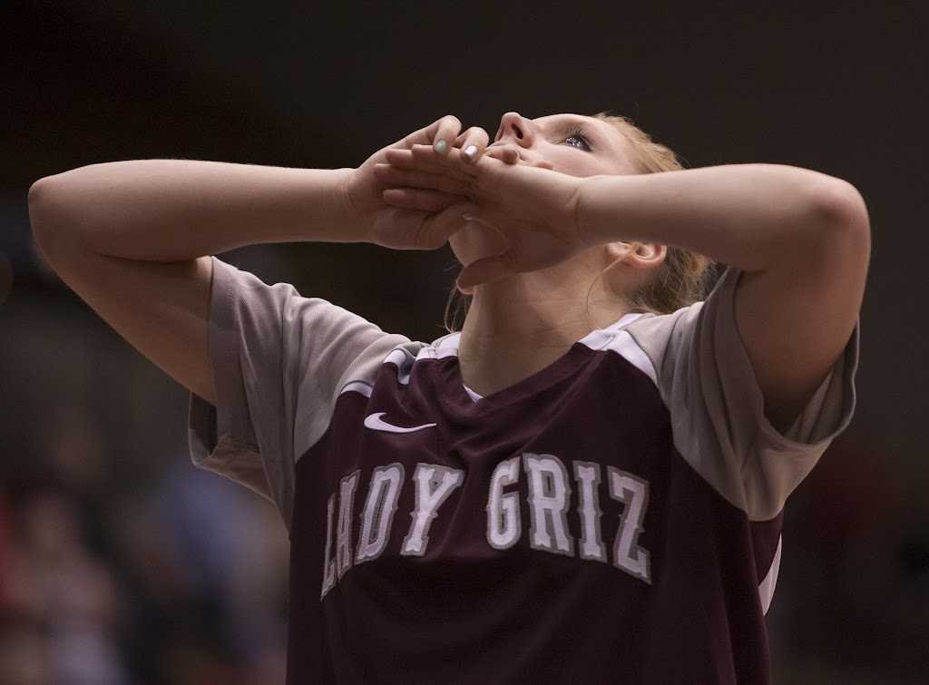 Sophomore forward Maggie Rickman during halftime warm-ups.  Dahlberg Arena in Missoula, Mont., November 5th, 2012.