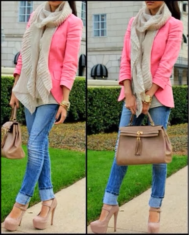 Long scarf, pink blazer, jeans, high heels and hand bag combination for fall