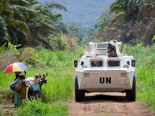 Un véhicule de la Monusco à Beni (Nord-Kivu) où l'Onu appuie l'opération de l'armée contre la milice ou