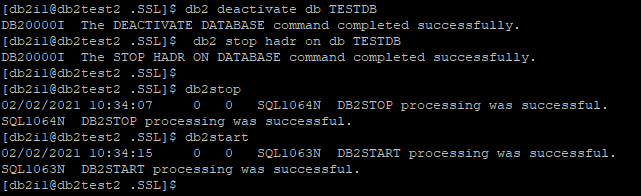 Stop HADR And restart Instance
