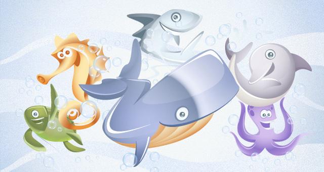 Personajes marinos con diseños infantiles para descargar