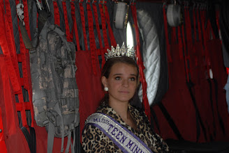 Photo: Miss Teen Minnesota Jessica Scheu has a seat in a CH-47 Chinook helicopter.