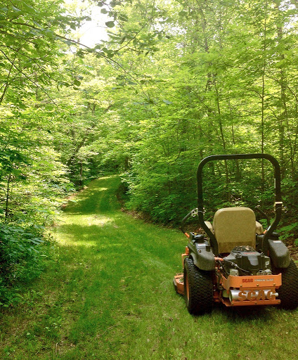 Mowing on Skaters Waltz ski trail. We have logged close to 700 miles of mowing already this year! The woods as lush as ever with all the rain this spring and early summer.
