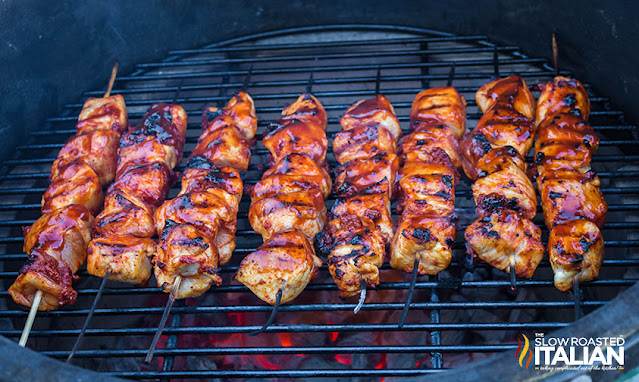 Bourbon BBQ Chicken Skewers on the grill