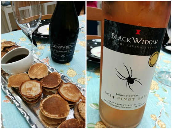 Unsworth Charme de L'Ile & Black Widow 2014 Pinot Gris with Pancake Sliders