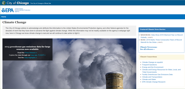 Screenshot of the EPA climate science website, that was posted by the City of Chicago in response to the Trump administration's removal of climate science from the EPA site. Graphic: EPA / City of Chicago