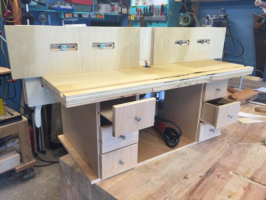 Bench top router table homemade shop machines and equipment i the left side drawers are just flat boards glued to the drawer fronts and i plan on just drilling a bunch of 14 and 12 holes and slip the bits in as keyboard keysfo Images