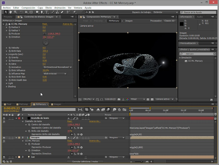 Captura de pantalla CC Mr. Mercury de After Effects
