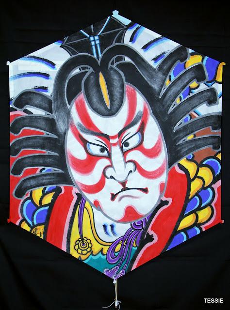Сибараку, шестиугольный змей (роккаку), 120х90 см_Рисунок Кадзама Масао_Каркас Эндо Хироми.JPG