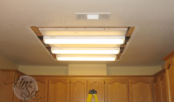 Removing box light from kitchen ceiling - Removing A Fluorescent Kitchen  Light Box - The Kim - Replace Fluorescent Light Fixture In Kitchen Baileys Kitchen