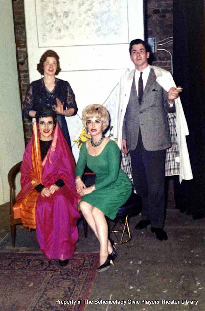 Martha Goldhoff, Betsy Morray, Catsey Hagel and William Beckett in rehearsal for AUNTIE MAME - December 1961.  Property of The Schenectady Civic Players Theater Archive.