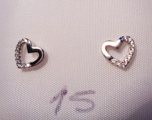 Pendientes de plata con forma de corazón