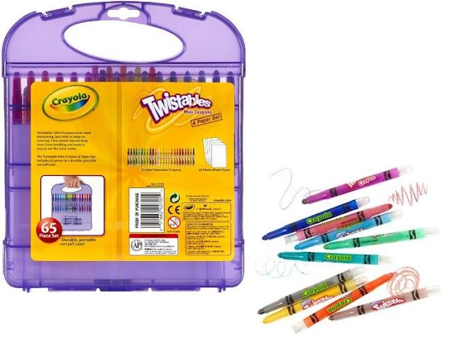 Hộp 25 bút sáp màu và 40 tờ giấy vẽ Crayola Twistables Mini Crayons tuyệt đối an toàn