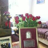 13 Lutego 2013, Medal Przełożonego Generalnego dla pani Elżbiety Gurtler-Krawczyńskiej. - photo%2BPlaque%2Band%2Broses%2B1.27.13.JPG