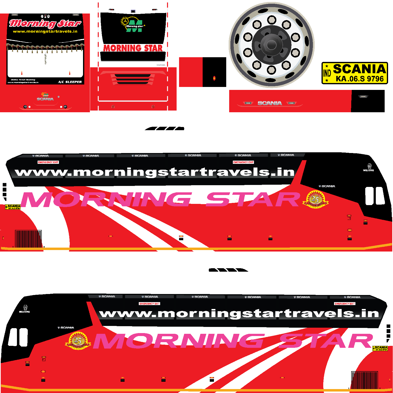 BUSSID : Morning star scania Livery   bus simulator indonesia livery download