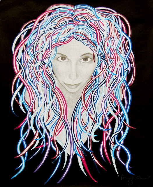 High Priestess of Space. Graphite and Paints on Vellum. By Meghan Oona Clifford | www.RealeyesGallery.com
