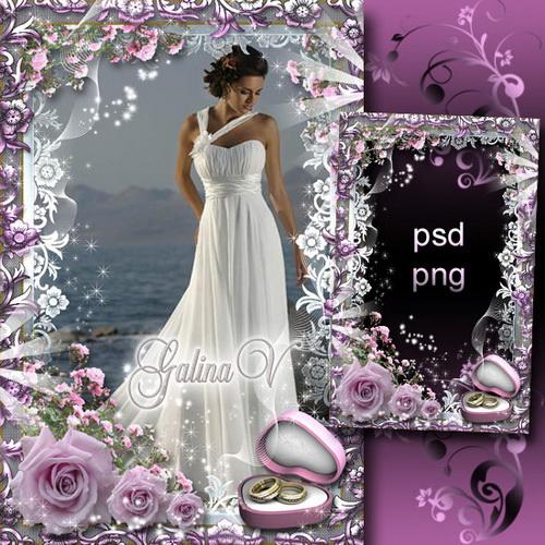 Свадебная рамка - Розовые розы на счастье