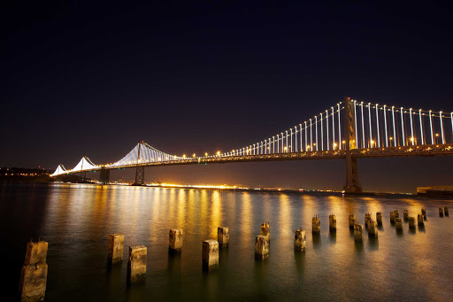 Bay-Lights-Bay-Bridge - A view of the lights along the Bay Bridge connecting San Francisco and Oakland.