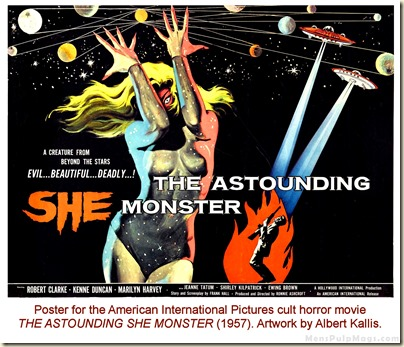 THE ASTOUNDING SHE MONSTER (1957) poster by Albert Kallis