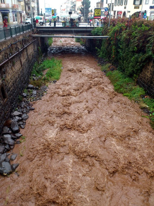 the first rain arrived and the water course have water ... brown