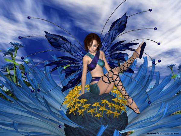 Blue Fairy Of Flower, Fairies Girls 2