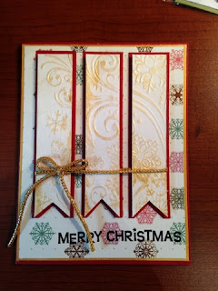 Split embossing technique, Inkagold sponging, PaperMania First Noel