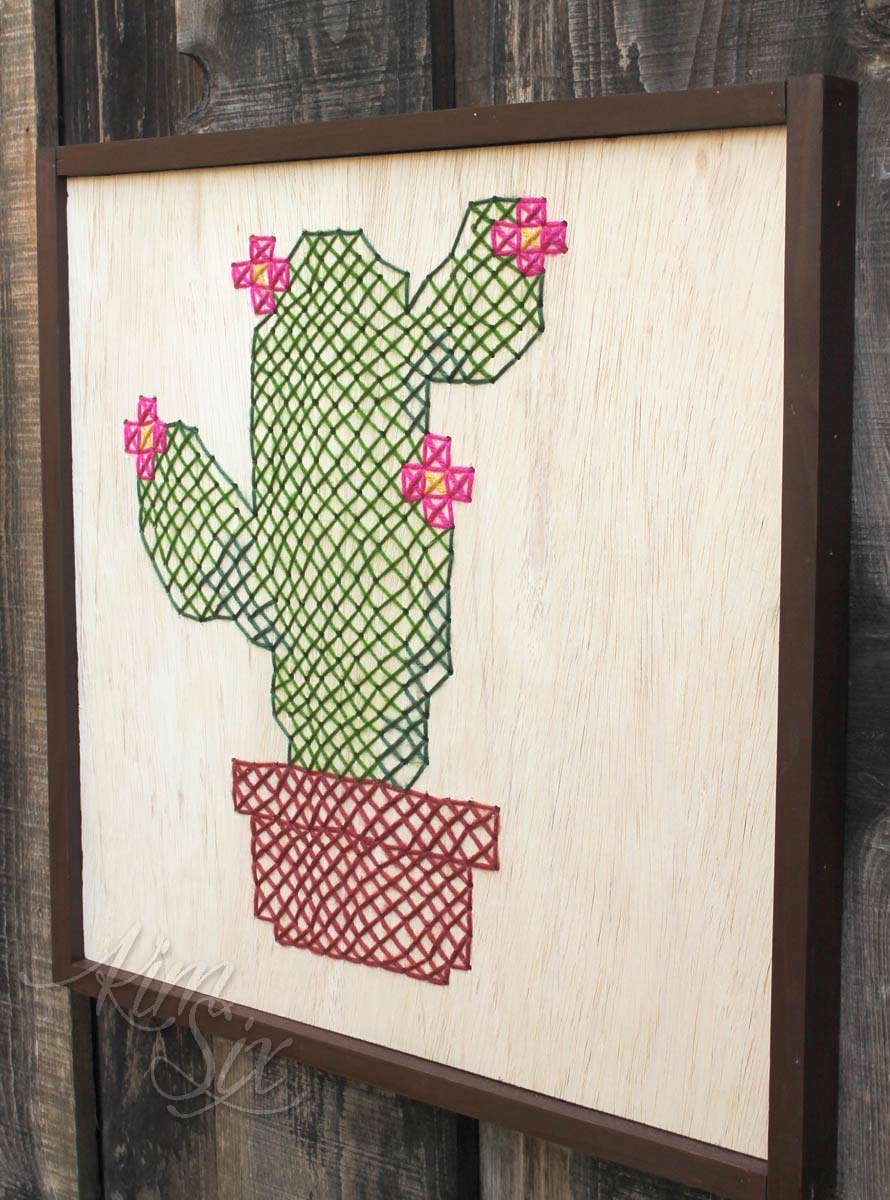 Wood cross stitch cactus