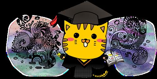 學士貓 花邊 - 向量格式 1517 著色版