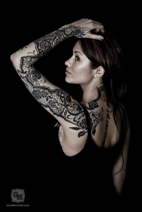 este_refinado_lacy_luva_cheia_de_tatuagem