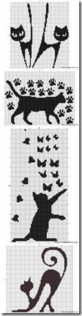 siluetas gatos punto de cruz monocromo  (26)