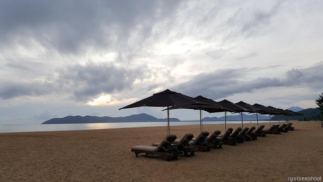 Private beach shared by the Banyan Tree Lang Co and Angsana Lang Co Resorts.