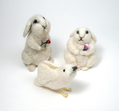 Needle Felted Animals with Lampwork Flowers by Serena Smith