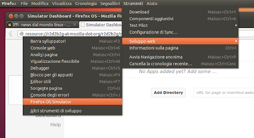 FxOS - Firefox OS in Firefox  - avvio