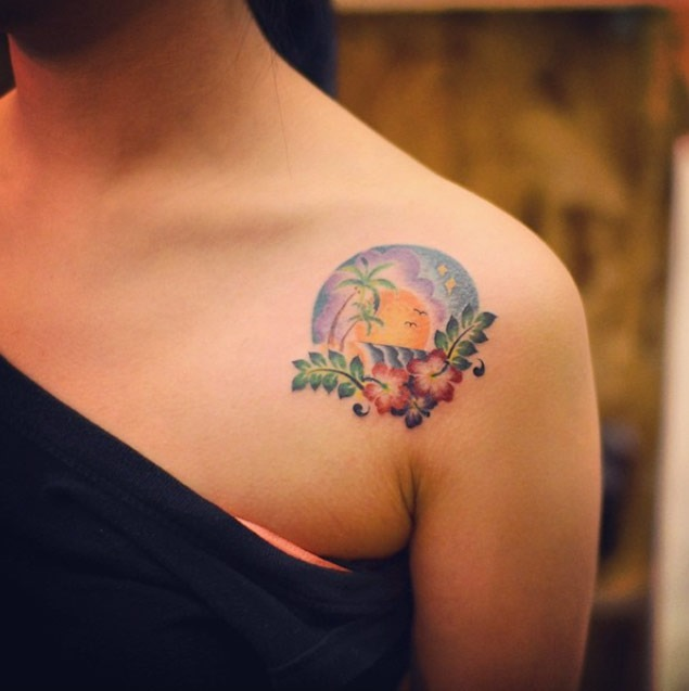 Este havaiano ombro tatuagem