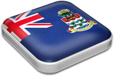 Flag of Cayman Islands with metallic square frame
