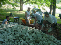 Rocks for Lining Trail Photo shows older brother and Troop 883 Eagle Scout Daniel with college friends