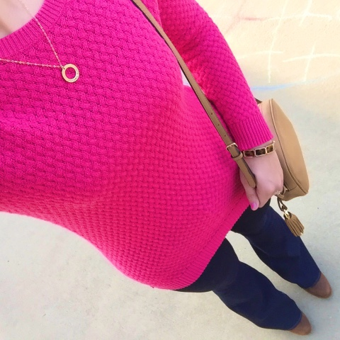 pink sweater, flared jeans