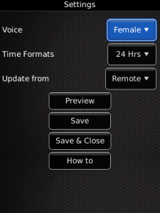BlackBerry App Voice Clock v1.0