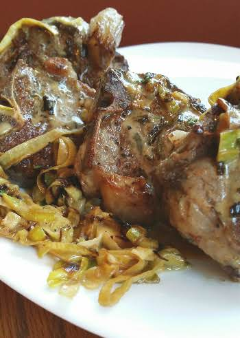 lamb chops leeks recipe Welsh Lamb Chops with Leeks and Honey