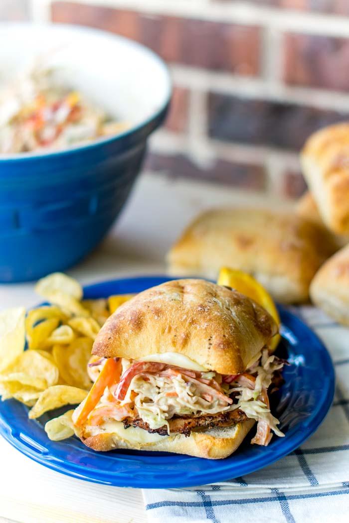 Grilled PorkTenderloin Sandwich with Balsamic Pepper Coleslaw  108